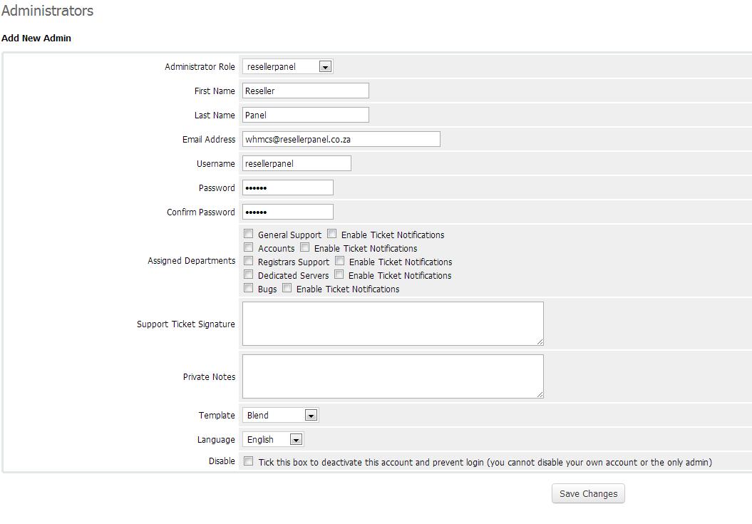 WHMCS API User