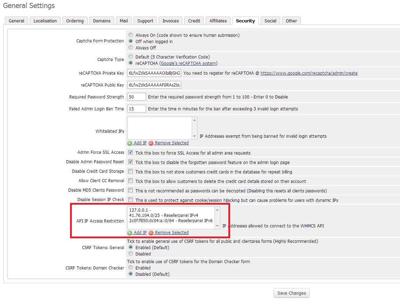Setup WHMCS API Access